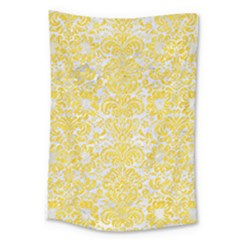 Damask2 White Marble & Yellow Colored Pencil (r) Large Tapestry by trendistuff
