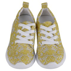 Damask2 White Marble & Yellow Colored Pencil (r) Kids  Lightweight Sports Shoes
