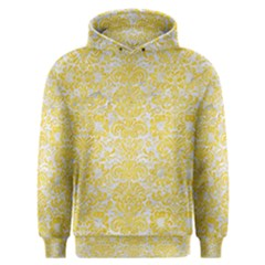 Damask2 White Marble & Yellow Colored Pencil (r) Men s Overhead Hoodie