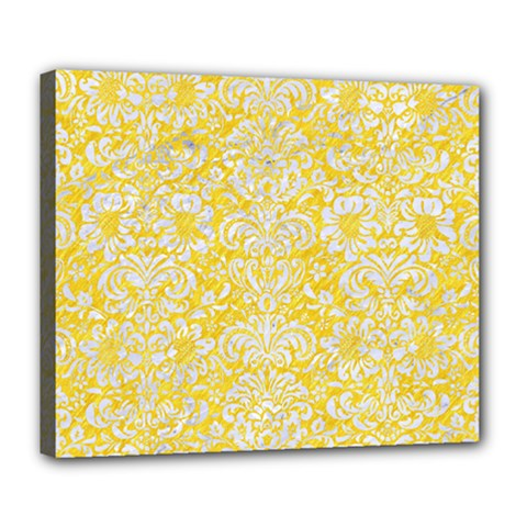 Damask2 White Marble & Yellow Colored Pencil Deluxe Canvas 24  X 20   by trendistuff