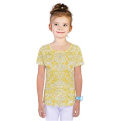 Damask2 White Marble & Yellow Colored Pencil Kids  One Piece Tee