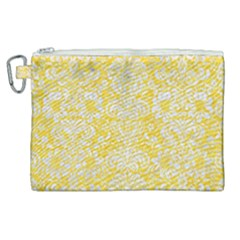 Damask2 White Marble & Yellow Colored Pencil Canvas Cosmetic Bag (xl) by trendistuff