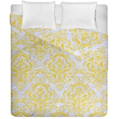 Damask1 White Marble & Yellow Colored Pencil (r) Duvet Cover Double Side (california King Size) by trendistuff