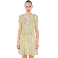 Damask1 White Marble & Yellow Colored Pencil (r) Adorable In Chiffon Dress