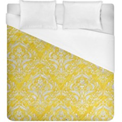 Damask1 White Marble & Yellow Colored Pencil Duvet Cover (king Size) by trendistuff