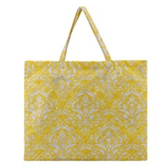 Damask1 White Marble & Yellow Colored Pencil Zipper Large Tote Bag by trendistuff