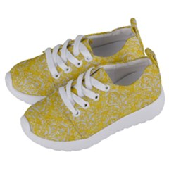 Damask1 White Marble & Yellow Colored Pencil Kids  Lightweight Sports Shoes by trendistuff