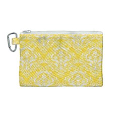 Damask1 White Marble & Yellow Colored Pencil Canvas Cosmetic Bag (medium) by trendistuff