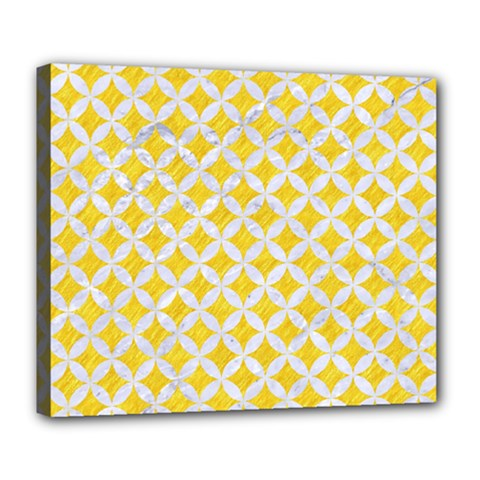 Circles3 White Marble & Yellow Colored Pencil Deluxe Canvas 24  X 20   by trendistuff