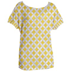 Circles3 White Marble & Yellow Colored Pencil Women s Oversized Tee
