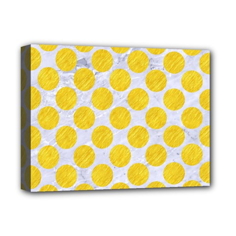 Circles2 White Marble & Yellow Colored Pencil (r) Deluxe Canvas 16  X 12   by trendistuff