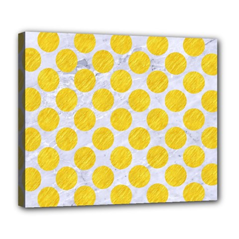 Circles2 White Marble & Yellow Colored Pencil (r) Deluxe Canvas 24  X 20   by trendistuff