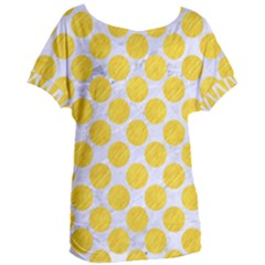 Circles2 White Marble & Yellow Colored Pencil (r) Women s Oversized Tee