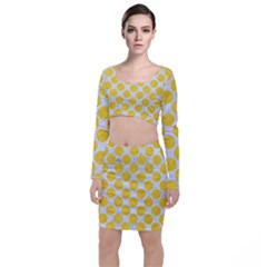 Circles2 White Marble & Yellow Colored Pencil (r) Long Sleeve Crop Top & Bodycon Skirt Set by trendistuff