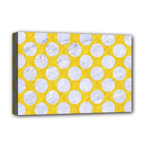 Circles2 White Marble & Yellow Colored Pencil Deluxe Canvas 18  X 12   by trendistuff