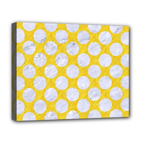 Circles2 White Marble & Yellow Colored Pencil Deluxe Canvas 20  X 16   by trendistuff