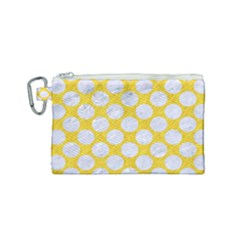 Circles2 White Marble & Yellow Colored Pencil Canvas Cosmetic Bag (small) by trendistuff