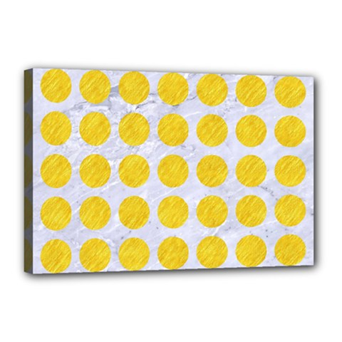 Circles1 White Marble & Yellow Colored Pencil (r) Canvas 18  X 12  by trendistuff