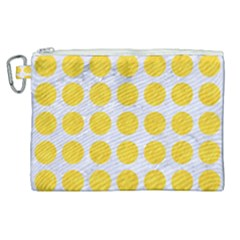 Circles1 White Marble & Yellow Colored Pencil (r) Canvas Cosmetic Bag (xl) by trendistuff