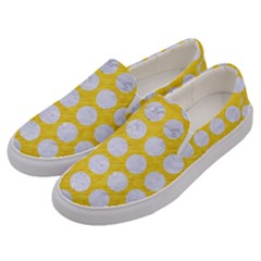 Circles1 White Marble & Yellow Colored Pencil Men s Canvas Slip Ons by trendistuff