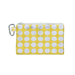 Circles1 White Marble & Yellow Colored Pencil Canvas Cosmetic Bag (small) by trendistuff