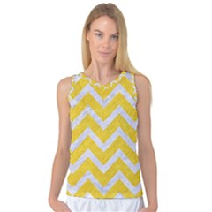 Chevron9 White Marble & Yellow Colored Pencilchevron9 White Marble & Yellow Colored Pencil Women s Basketball Tank Top by trendistuff