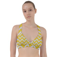 Chevron9 White Marble & Yellow Colored Pencilchevron9 White Marble & Yellow Colored Pencil Sweetheart Sports Bra by trendistuff