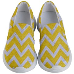 Chevron9 White Marble & Yellow Colored Pencilchevron9 White Marble & Yellow Colored Pencil Kid s Lightweight Slip Ons