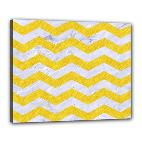 Chevron3 White Marble & Yellow Colored Pencil Canvas 20  X 16