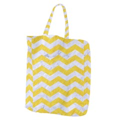 Chevron3 White Marble & Yellow Colored Pencil Giant Grocery Zipper Tote by trendistuff