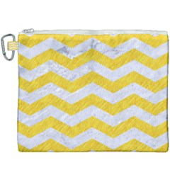 Chevron3 White Marble & Yellow Colored Pencil Canvas Cosmetic Bag (xxxl) by trendistuff