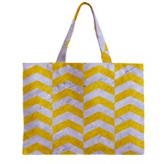 Chevron2 White Marble & Yellow Colored Pencil Zipper Mini Tote Bag by trendistuff