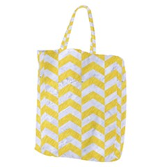 Chevron2 White Marble & Yellow Colored Pencil Giant Grocery Zipper Tote by trendistuff