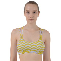 Chevron2 White Marble & Yellow Colored Pencil Line Them Up Sports Bra by trendistuff