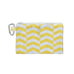 Chevron2 White Marble & Yellow Colored Pencil Canvas Cosmetic Bag (small) by trendistuff