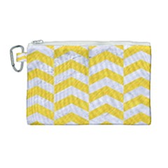 Chevron2 White Marble & Yellow Colored Pencil Canvas Cosmetic Bag (large) by trendistuff