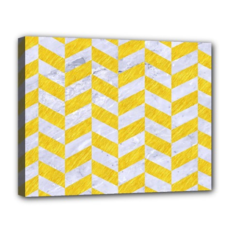 Chevron1 White Marble & Yellow Colored Pencil Canvas 14  X 11  by trendistuff
