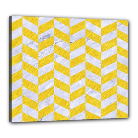 Chevron1 White Marble & Yellow Colored Pencil Canvas 24  X 20  by trendistuff