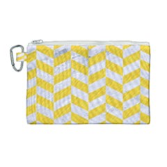 Chevron1 White Marble & Yellow Colored Pencil Canvas Cosmetic Bag (large) by trendistuff