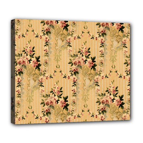 Vintage Floral Pattern Deluxe Canvas 24  X 20