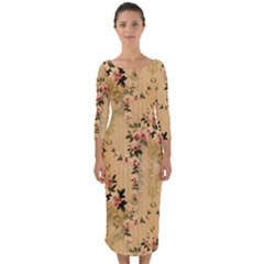 Vintage Floral Pattern Quarter Sleeve Midi Bodycon Dress