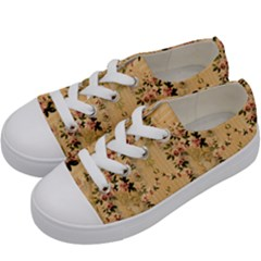 Vintage Floral Pattern Kids  Low Top Canvas Sneakers by paulaoliveiradesign
