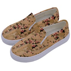 Vintage Floral Pattern Kids  Canvas Slip Ons by paulaoliveiradesign