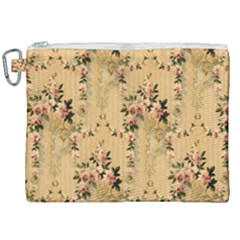 Vintage Floral Pattern Canvas Cosmetic Bag (xxl) by paulaoliveiradesign