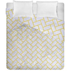 Brick2 White Marble & Yellow Colored Pencil (r) Duvet Cover Double Side (california King Size) by trendistuff