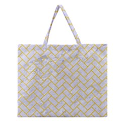 Brick2 White Marble & Yellow Colored Pencil (r) Zipper Large Tote Bag by trendistuff