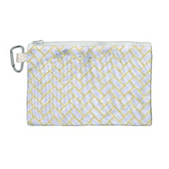 Brick2 White Marble & Yellow Colored Pencil (r) Canvas Cosmetic Bag (large) by trendistuff