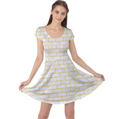 Brick1 White Marble & Yellow Colored Pencil (r) Cap Sleeve Dress