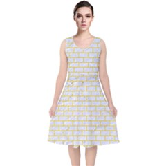 Brick1 White Marble & Yellow Colored Pencil (r) V Neck Midi Sleeveless Dress