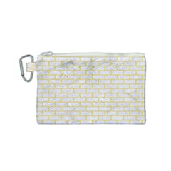 Brick1 White Marble & Yellow Colored Pencil (r) Canvas Cosmetic Bag (small) by trendistuff
